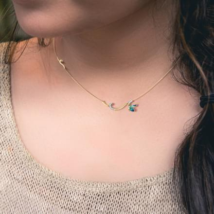 Tendril Blue Butterfly Necklace