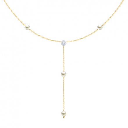 Cluster and Pearls Lariat Necklace