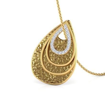 Beaten Gold Pear Pendant