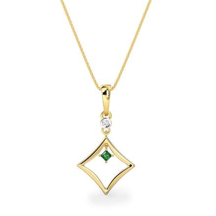 Princess-cut Emerald Pendant