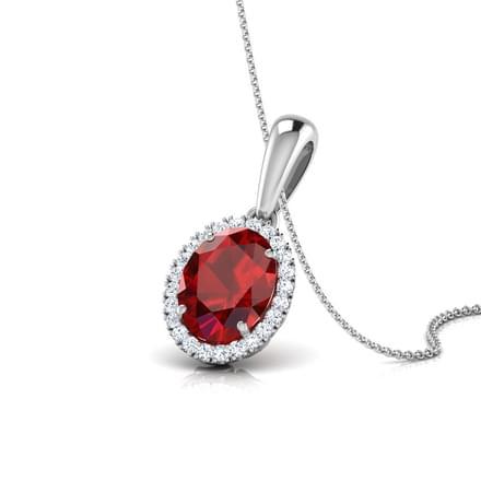 Halo Garnet Birthstone Pendant