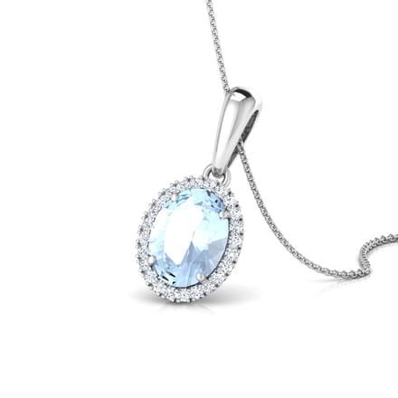 Halo Aquamarine Birthstone Pendant