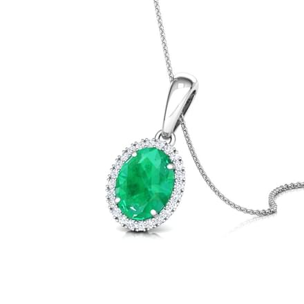 Halo Emerald Birthstone Pendant