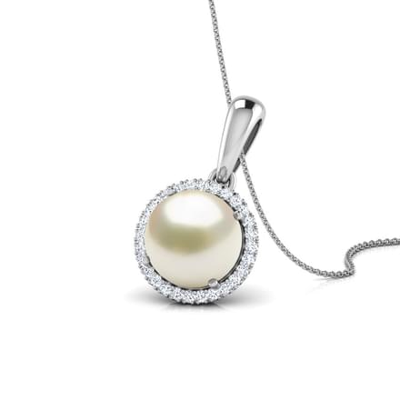 Halo Pearl Birthstone Pendant