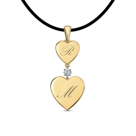 Two Hearts Engraved Pendant
