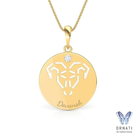 Aries Personalised Zodiac Pendant