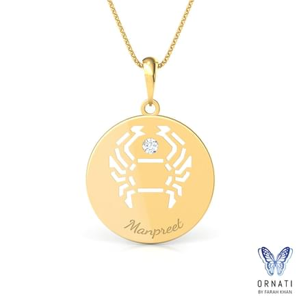 Cancer Personalised Zodiac Pendant
