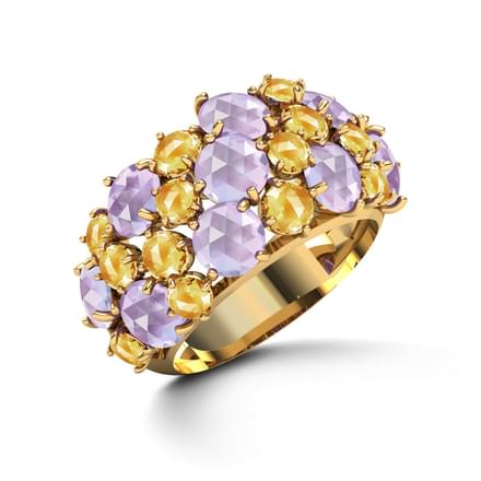 Glam Amethyst & Citrine Ring