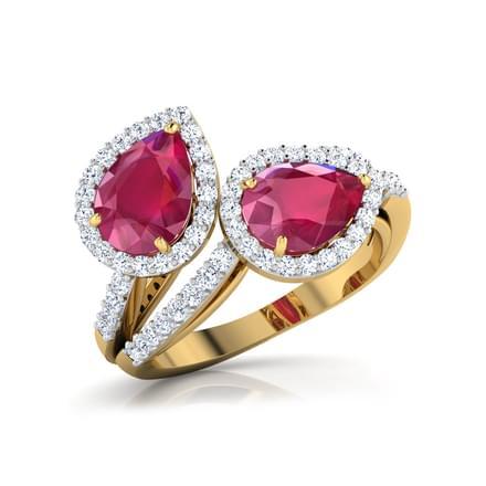 Leafy Ruby Ring