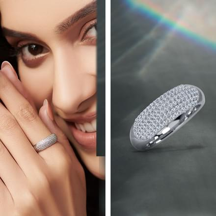pave band rings bands wedding diamond womens
