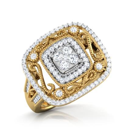 Cath Square Milligrain Ring