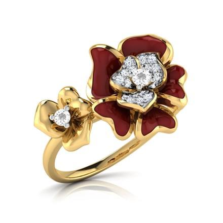 Rosai Maroon Floral Ring