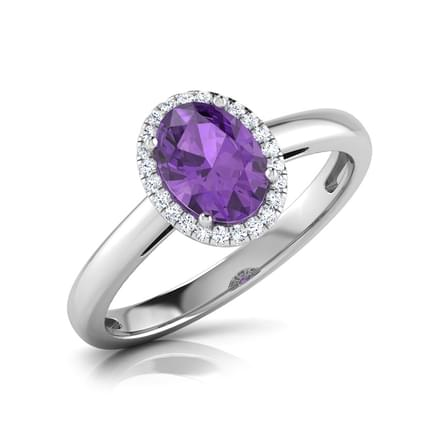 Halo Amethyst Birthstone Ring