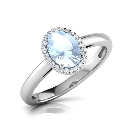 Halo Aquamarine Birthstone Ring