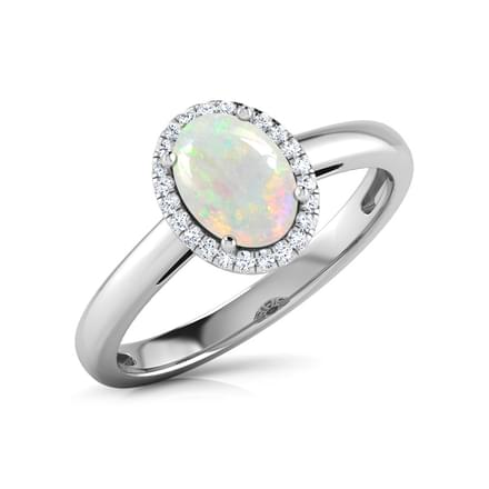 Halo Opal Birthstone Ring