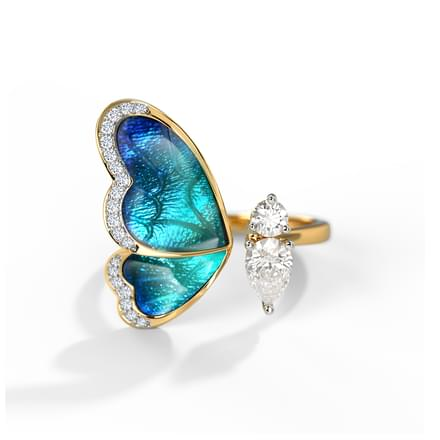one wing blue butterfly ring jewellery india online caratlane com