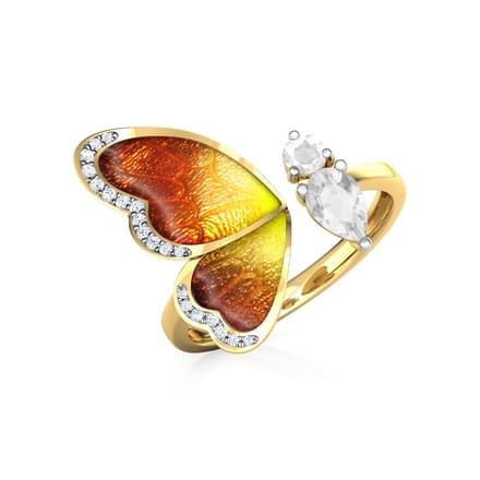 One Wing Orange Butterfly Ring