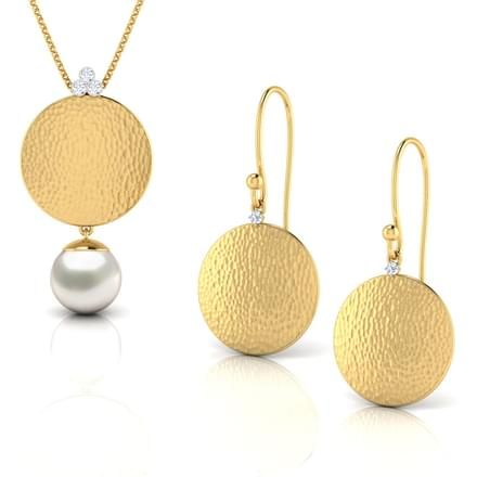 Hammered Gold Disc Matching Set