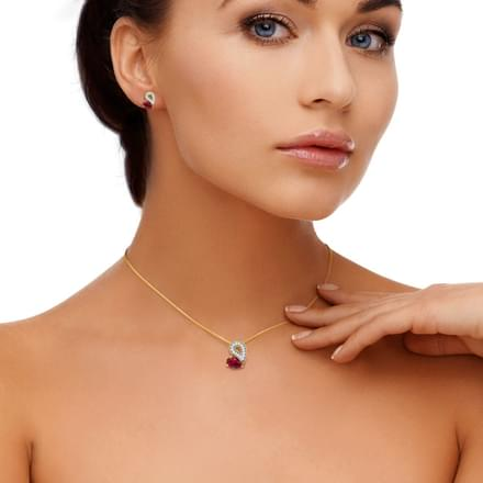 Glitzy Ruby Heart Matching Set