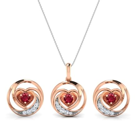 Lovable Ruby Heart Matching Set