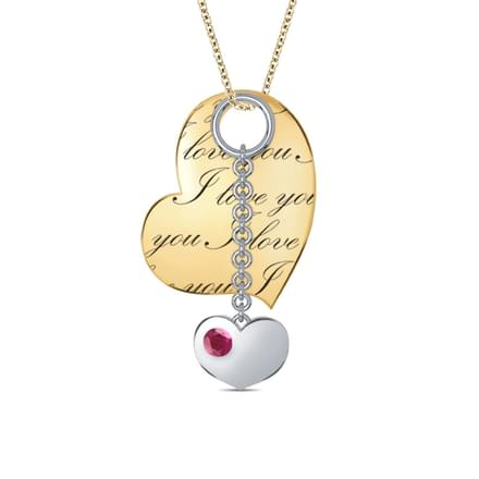 Engraved Heart & Charm Pendant