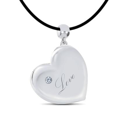 Engraved Balloon Heart with diamond, 18K White Gold, 0.01 ct diamond weight