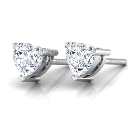Sweetheart Solitaire Stud Earrings