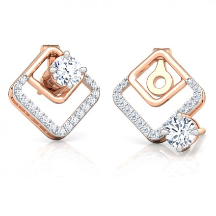 Gleam Quad Solitaire Stud Earrings