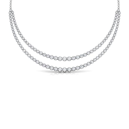 Two Line Illusion Solitaire Necklace