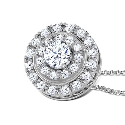 Two Row Halo Solitaire Pendant
