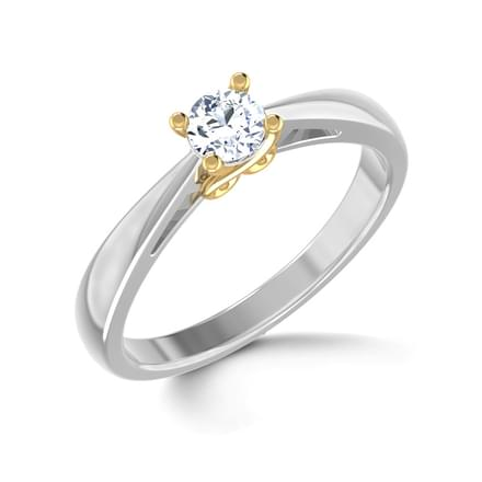 Heart Grooved Solitaire Ring