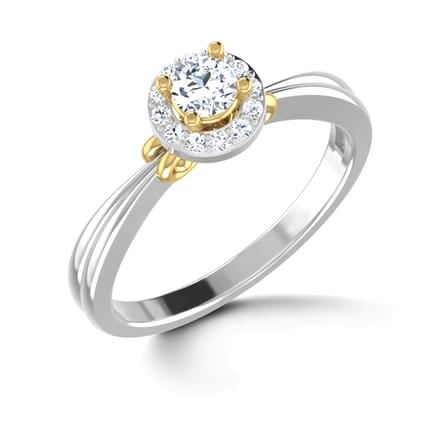 Swirly Halo Solitaire Ring