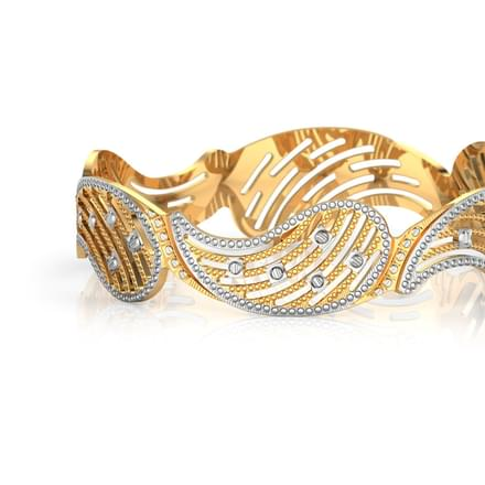 Grooved Paisley Gold Bangle