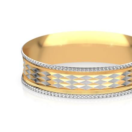 Two tone deco gold bangle