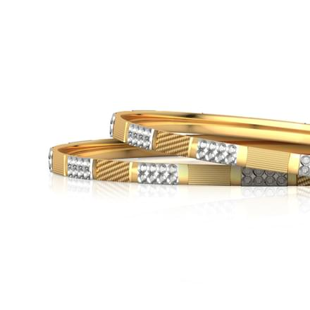 Tri-Block Design Gold Bangle Set of 2