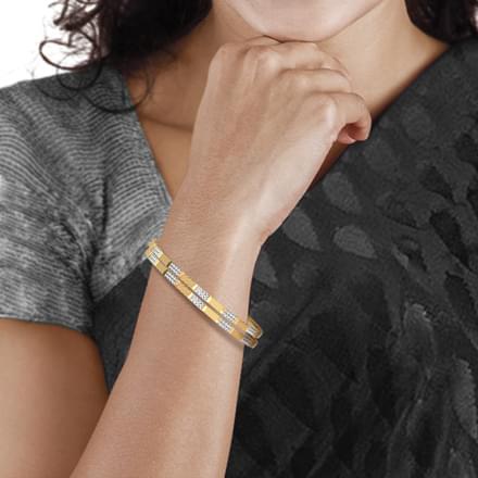 Tri block design gold bangle set of 2