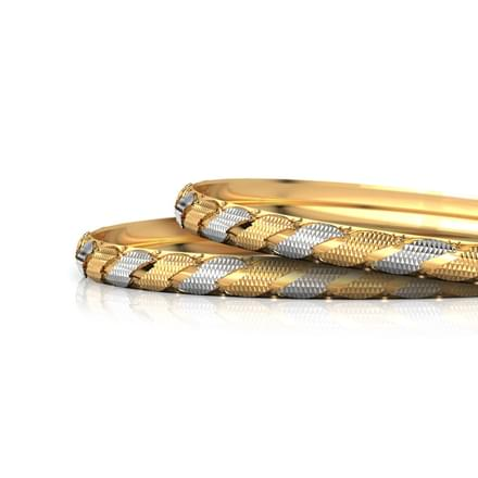 Curvy Deco Gold Bangle Set of 2