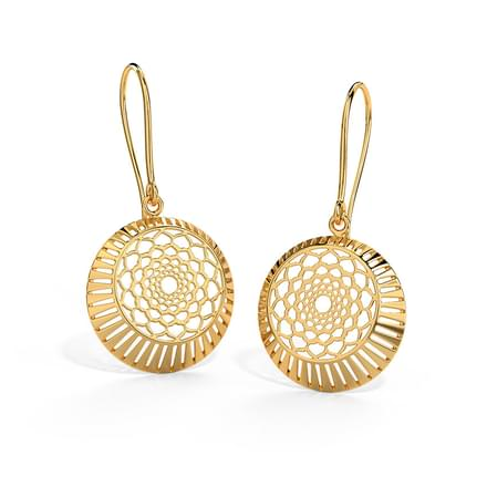 Rose on Disc Earrings
