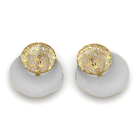 Val 2 Tone Patterned Stud Earrings