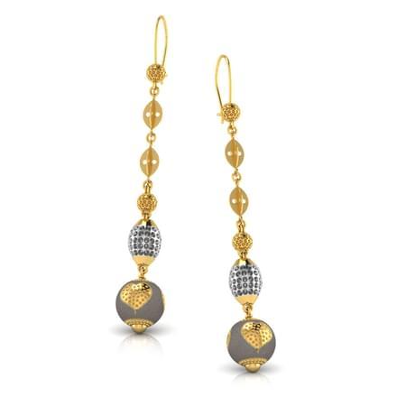 Beaded Golden Ball Drop Earrings