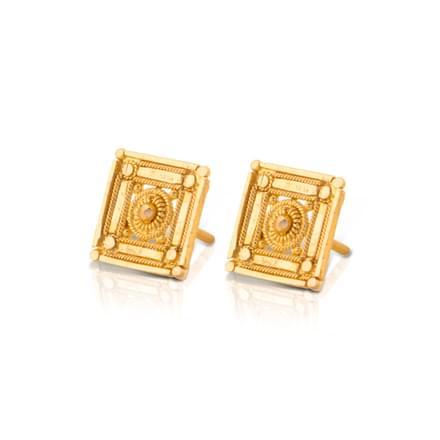 Eisha Cubed Gold Stud Earrings