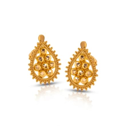 Elma Granulated Gold Stud Earrings