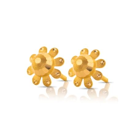 Ami Floral Gold Stud Earrings