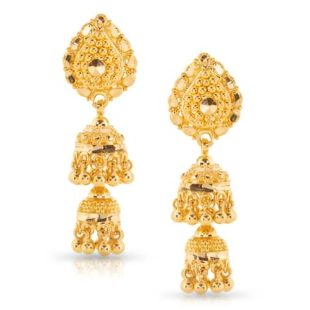 Leena Beaded Gold Jhumkas
