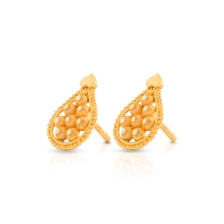 Granulated Drop Stud Earrings