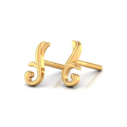 Patterned Gold Stud Earrings