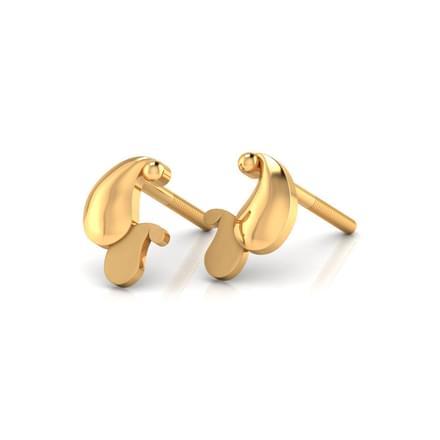 Dual Paisley Gold Stud Earrings