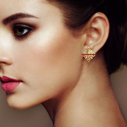Sheesh Ornate Stud Earrings
