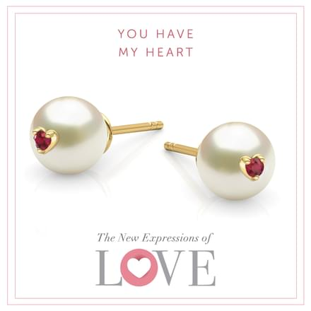 Pearl Love Stud Earrings
