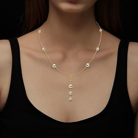 Station Pearl Y Necklace